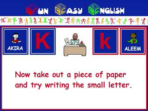 FunEasyEnglish.com Writing English Alphabet Kids Letter K
