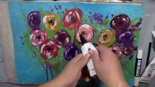 getlinkyoutube.com-Mixed Media Abstract Flowers with Dina Wakley Media Acrylic