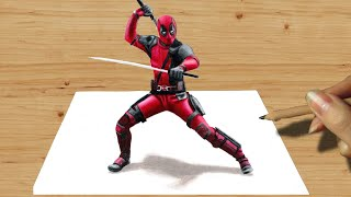 getlinkyoutube.com-3D Colored Pencil Drawing: Deadpool - Speed Draw | Jasmina Susak