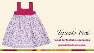 getlinkyoutube.com-Vestido con pechera en ganchillo tunecino para niñas de 6 a 10 años