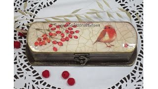 getlinkyoutube.com-Decoupage tutorial - DIY.  How to decorate a pen / gift / glasses box. Crackle painting technique.