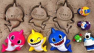 Pinkfong Shark family sand Play set! Let's play fun sand with the baby shark, Pororo - PinkyPopTOY width=