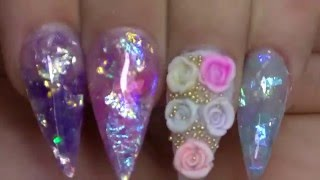 getlinkyoutube.com-Uñas acrílicas mini stiletos / luliz nails / mylar