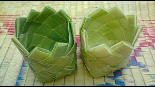 getlinkyoutube.com-How to Make Small Basket with Palm Tree Leaves