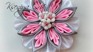 getlinkyoutube.com-Многослойный цветок канзаши своими руками. Лепесток 3 в 1