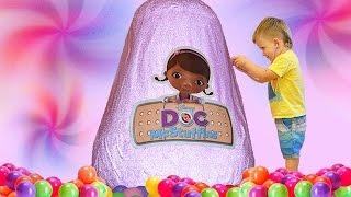 getlinkyoutube.com-★ Гигантское яйцо с сюрпризами ДОКТОР ПЛЮШЕВА Doc McStuffins GIANT Surprise EGG Disney Junior toys