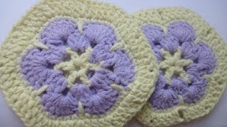 getlinkyoutube.com-Африканский шестиугольный цветок Afghan hexagonal flower Crochet