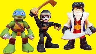 getlinkyoutube.com-Teenage Mutant Ninja Turtles TMNT Half Shell Heroes Battle Imaginext Warriors To Save Casey Jones