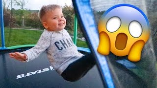 TODDLER TRAMPOLINE TRICK FAIL!