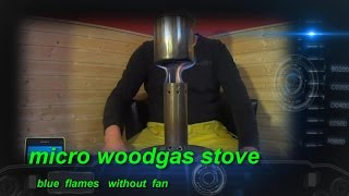 getlinkyoutube.com-micro woodgas stove - blue flames without fan