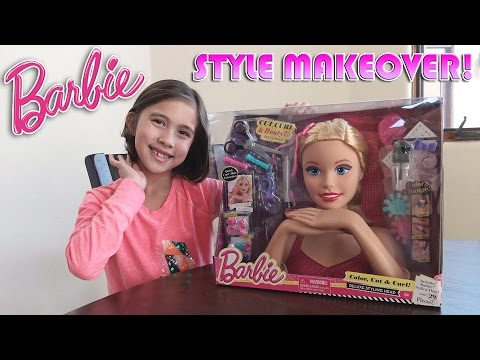 BARBIE MAKEOVER!!! Styling with Jillian - Barbie Deluxe Styling Head