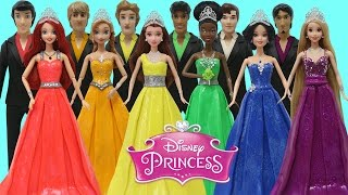 getlinkyoutube.com-Play Doh Disney Prince & Princess Anna Tiana Belle Ariel Rapunzel Snow White Prom Costumes