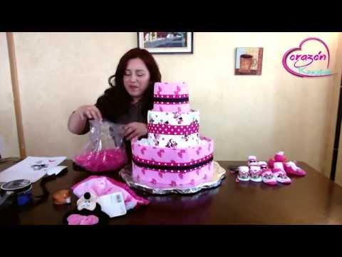 Como hacer un pastel de pañales para Baby Shower