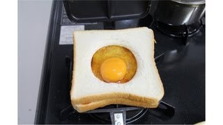 getlinkyoutube.com-ホットサンド #2 卵と焼きチーズ  hot sandwich spaghetti