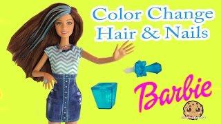 getlinkyoutube.com-Color Change Hair & Nails Barbie Glitz Glam Doll  - Cookieswirlc Unboxing Video