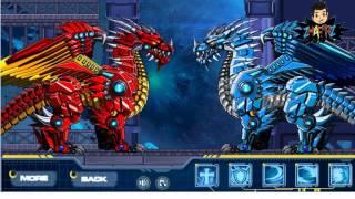 getlinkyoutube.com-Robot Ice Dragon VS Robot Fire Dragon | Game Merakit Robot lalu Bertarung | Game Battle Arena Dragon