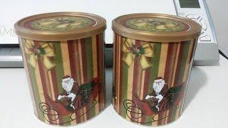 getlinkyoutube.com-Diy- Reciclagem com latas de leite para o natal, faça lindas latas para panetones caseiro