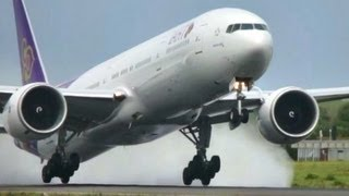 getlinkyoutube.com-Super WET Boeing 777-300/ER Takeoff!! Thai Airways at Copenhagen Kastrup (HD1080p)
