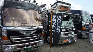 getlinkyoutube.com-ZERO CORPORATION・椎名急送コラボ入場 茨城アートトラック連盟2015  SOLAR IMPACT(ソーラーインパクト)  トラック フロントガラス