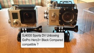 sj4000 sports dv unboxing gopro hero3 plus black compared compatible ?