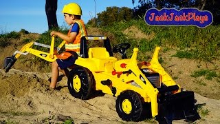 Backhoe Ride On Tractor Surprise Toy Unboxing, Kids Playing with Construction Trucks width=