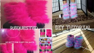 getlinkyoutube.com-COTTON CANDY & HOTT PINK FLUFFY FUR BOOTS (REQUESTED)