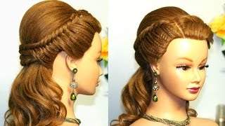 getlinkyoutube.com-Easy prom hairstyle for long hair with fishtail braids