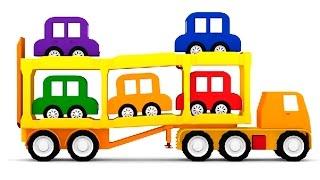 getlinkyoutube.com-Песенка про 5 машинок. Машинки и автовоз. 3D мультфильм 4 машинки