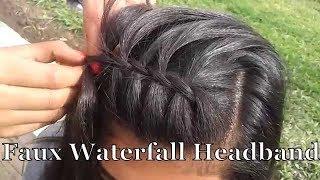 getlinkyoutube.com-الضفيرة اﻻمامية اسهل طريقة للمبتدئين تسريحة عصرية / Faux Waterfall Headband