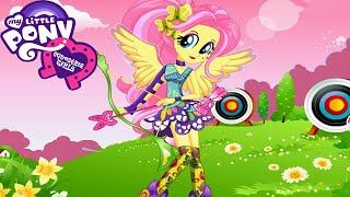 getlinkyoutube.com-My Little Pony Equestria Girls Friendship Games Fluttershy Archery Style Game