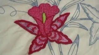 getlinkyoutube.com-Bordado Fantasía Orquídea y Punto D´ Ojal