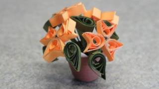 "getlinkyoutube.com-Quilled Miniature plants: Yellow ""bunny ear"" flowers"