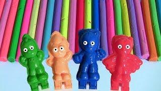 getlinkyoutube.com-Massinha Softee Dough Heróis de Pijama PJ Masks 3D Maker Mold 'n Play ToysBR Lagartixo Gato Corujita