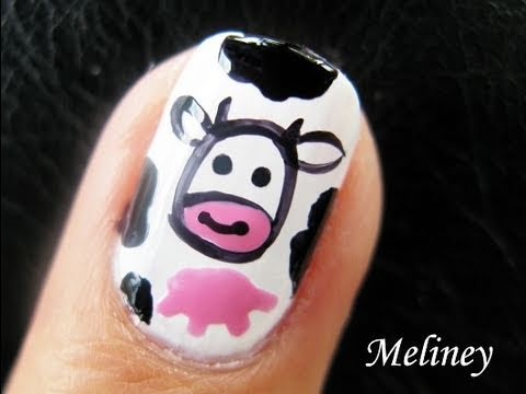 Nail Art Tutorial - Mooooo Milk Cow Print Farm Design for Short Nails