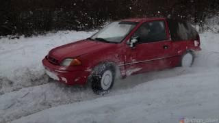 getlinkyoutube.com-Subaru Justy 4x4 snow fun