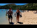 Walking with HD Camera on Hanauma Bay Beach, Honolulu, Oahu Island, Hawaii