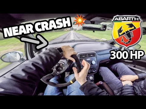 NEAR CRASH PUNTO ABARTH 300hp - EPIC LAUNCH CONTROL (RAW POV) 0-200 km/h & TURBONETICS