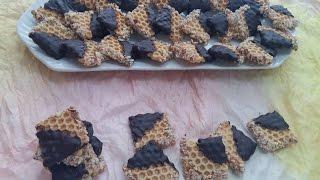 getlinkyoutube.com-صابلي الشهدة بالكراميل | Sablé nid d'abeille au caramel