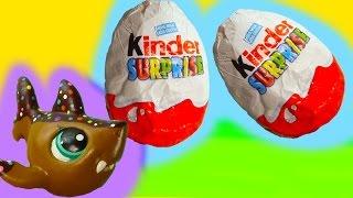 getlinkyoutube.com-LPS Kinder Surprise Egg Chocolate Mystery Blind Bag Littlest Pet Shop Shark Toy Unboxing