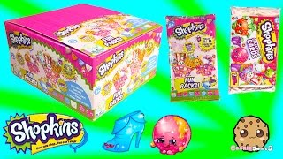 getlinkyoutube.com-Unboxing 3 Shopkins Box Fun Packs & Collector Cards with Limited Editions & Minecraft Blind Bag