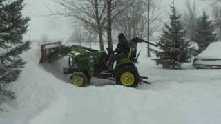getlinkyoutube.com-John Deere 2320 Tractor Homemade Snowplow Loader Attachment II