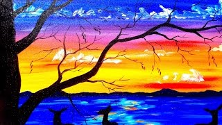getlinkyoutube.com-Beginners acrylic painting tutorial | Deer and Sunset Lake | Silhouette