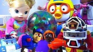 getlinkyoutube.com-Orbeez Magic Light-up Globe Paw Patrol Baby Doll Robocar Poli Kids' Toys