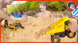 Toy Dump Truck Buries Axel and River