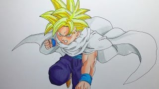 getlinkyoutube.com-Drawing Teen Gohan Super Saiyan - Dragon Ball Z - Cell Saga