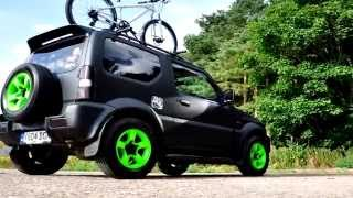 getlinkyoutube.com-Suzuki Jimny Matt Black Respray With Monster Green Wheels