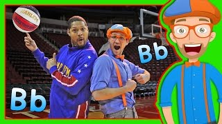 getlinkyoutube.com-Learn Letters for Toddlers with Blippi and the Globetrotters | The Letter B