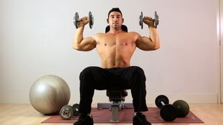 getlinkyoutube.com-How to Do Seated Overhead Dumbbell Press | Arm Workout