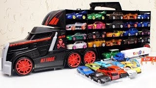 getlinkyoutube.com-터닝메카드 메카니멀 정리 패스트 뉴블랙 트럭 캐리어 토이저러스 장난감 Fast Lane Truck Carrying  car Case Toy 하하키즈토이