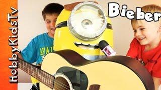 getlinkyoutube.com-Justin Bieber MINION Makeover! Play-Doh + Singing with HobbyKidsTV